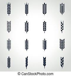set, tarwe, vector, black , oor, pictogram
