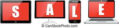 set, tavoletta, laptop, vendita, telefono, quaderno