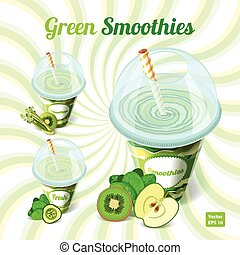 set, tazza, bere, tre, plastica, verde, stra, smoothies