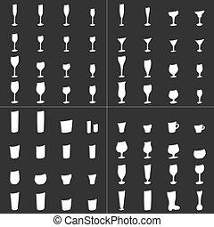 set, tazza, vetro, birra, vettore, vino