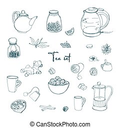 Set tea party objects. Collection with hand drawn...