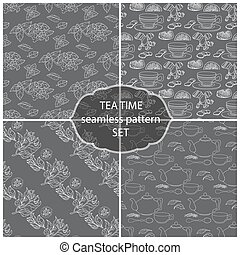Set Tea Time seamless pattern of the doodle leaves, cups.