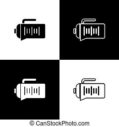Set Teapot icon isolated on black and white background. Vector