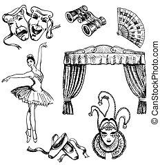 set, teatro, mano, vettore, inchiostro, disegnato