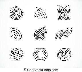 set, tecnologia, icone, -, simboli, tecnologia, logotipo