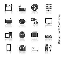 set, tecnologia, riflessione, icone