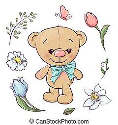 set, teddy, drawing., beer, hand, flowers., vector, illustratie