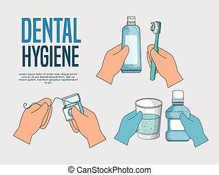 set teeth hygiene medicine treatment to healthcare