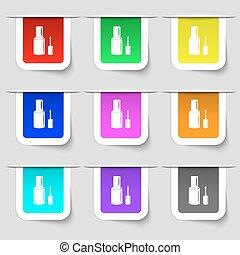 set, teken., etiketten, moderne, veelkleurig, spijker, vector, fles, pools, pictogram, jouw, design.