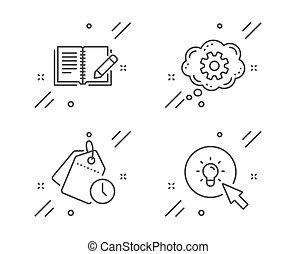 set., teken., iconen, energie, vector, werktuig,...