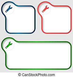 set, tekst, frame, drie, vector, moersleutel