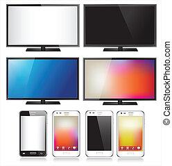set, telefono, mobile, realistico, otto, tv