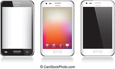 set, telefono, mobile, tre, isolato, realistico, fondo, bianco