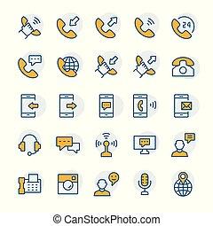 set, telefoon, communicatie, symbols., vector, dune lijn, style., pictogram
