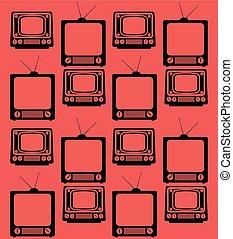 set television vintage device seamless pattern