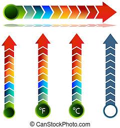 set, temperatura, freccia, termometro