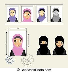 Set template face muslim girl