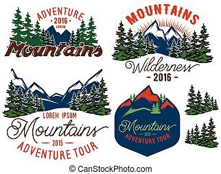 set template in retro style with mountains spruces forest