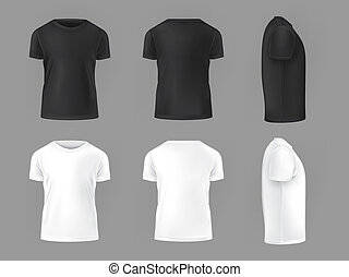 T-shirt template set(front, back) on white background.