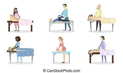 set., terapia, massaggio