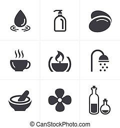 set, terme, vettore, disegno, icone