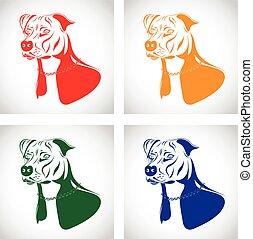 set, terrier, staffordshire, cane