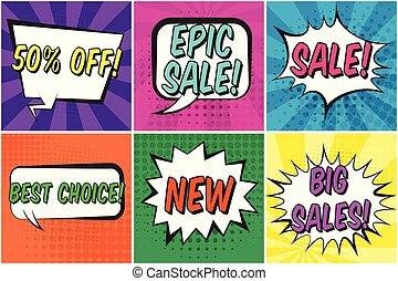 set, testo, vendite, discorso, retro, bolle, comico