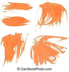 Set texture orange paint smears 1