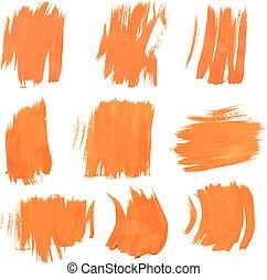Set texture orange paint smears on white background 9