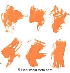 Set texture orange paint smears on white background 20