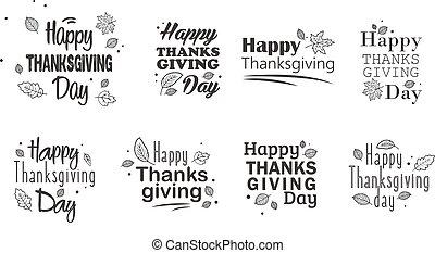 set., thanksgiving, typographie, main, arrière-plan., dessiné, jour, heureux