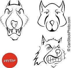 Set the dog's muzzle, wolf isolated