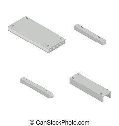 Set the iron concrete products isometric, vector illustration.