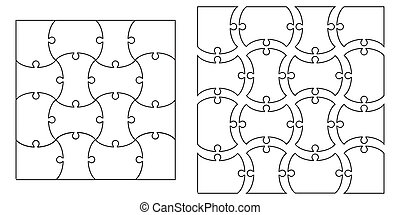 set the template of Puzzle Pieces, vector set for creating complex jigsaw puzzle pieces, image applicable to several concepts