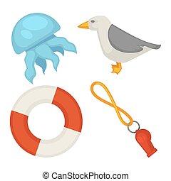set, themed, vrijstaand, illustratie, zee, kleine, spotprent