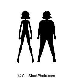 Set thick slim thin body figures