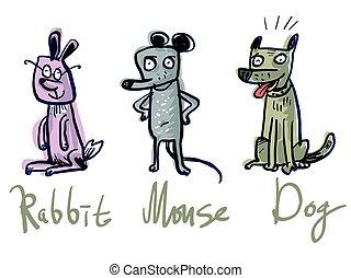 Set Three animals. Rabbit, Mouse and Dog