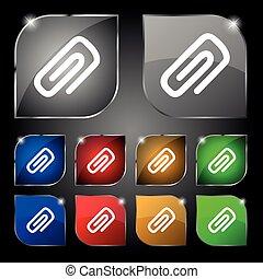 set, tien, klem, teken., glare., knopen, vector, papier, kleurrijke, pictogram