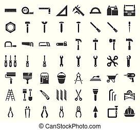 set, timmerman, handyman, uitrusting, ontwerp, pictogram, werktuig, glyph