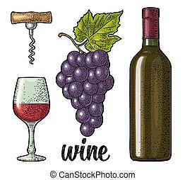 set., tire-bouchon, verre, tas, grapes., bouteille, gravé, vin