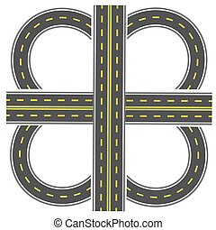 Set to build a transport interchange. Highway with yellow markings. illustration