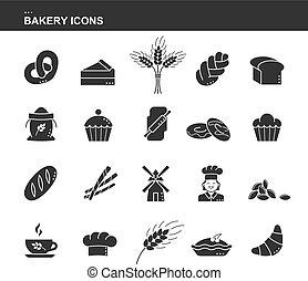 set, toast., sacco, berretto, chef, pretzel, silhouette, frumento, isolato, nero, cuoco, challah, tazza, collezione, farina, rimbombante, bread, ciambella, orecchio, torta, icona, perno, croissant, covone, panetteria, mulino, icon., cupcake