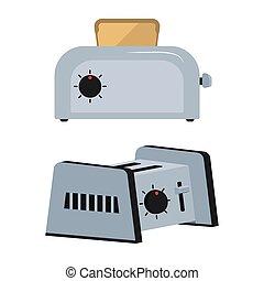 Set toaster on white background