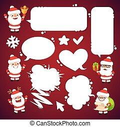 set, toespraak, kerstman, clauses, bellen, spotprent