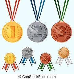 set, toewijzen, medailles