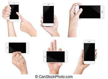 set, tonen, scherm, moderne, vrijstaand, hand, telefoon, witte , houden, display, smart