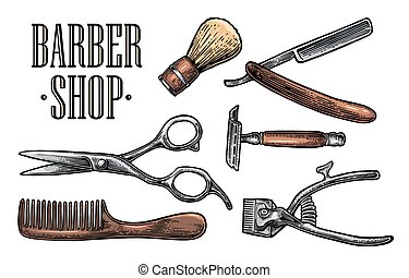Set tool for Barber Shop with logotype