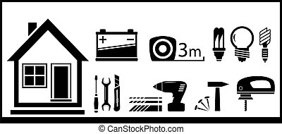 set tools for home work and house silhouette