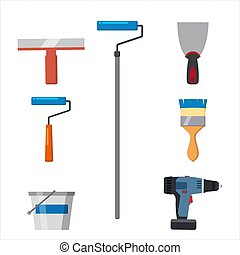 Set tools paint roller brush, putty knife, spatula, brush, electric screwdriver, paint bucket repair tool. Spackling or paint instruments. Vector illustration isolated on white. Cartoon style