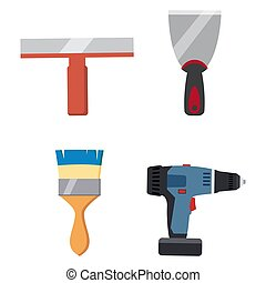 Set tools putty knife, spatula, brush, electric screwdriver repair tool. Spackling or paint instruments. Vector illustration isolated on white. Cartoon style